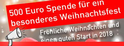 500 Euro Spende für ein besonderes Weihnachtsfest